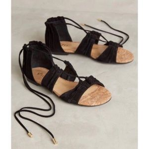 Anthropologie Vincenza Suede Gladiator Sandals EUC